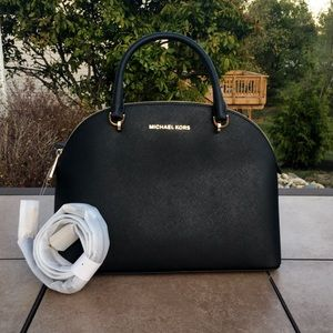 NWT Michael Kors Emmy Large Dome Satchel Black